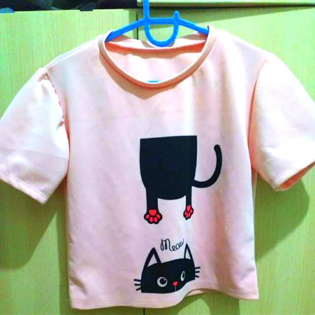 Cute Pink Top With Cat Design
