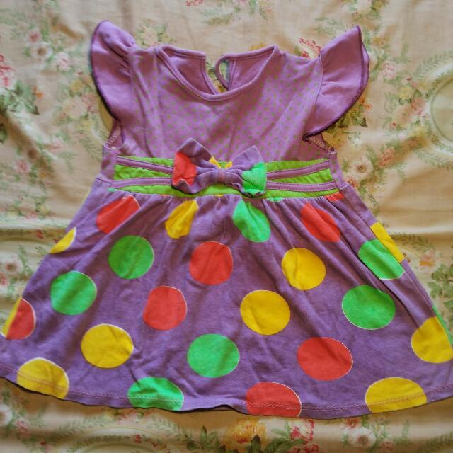 dress baby girl ungu polka