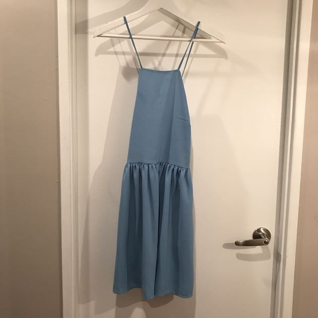 Forever21 Blue Lace-Up Back Skater Dress