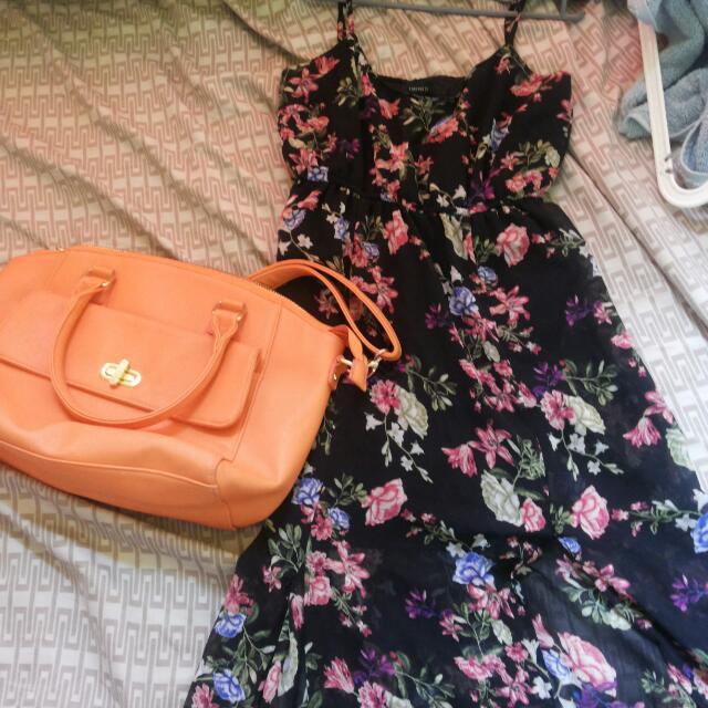 Forever21 Long Slit Cut Dress With Bag