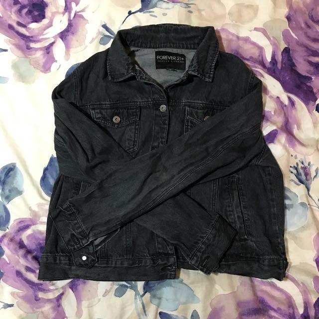 Forever 21 Plus Washed Black Denim Jacket