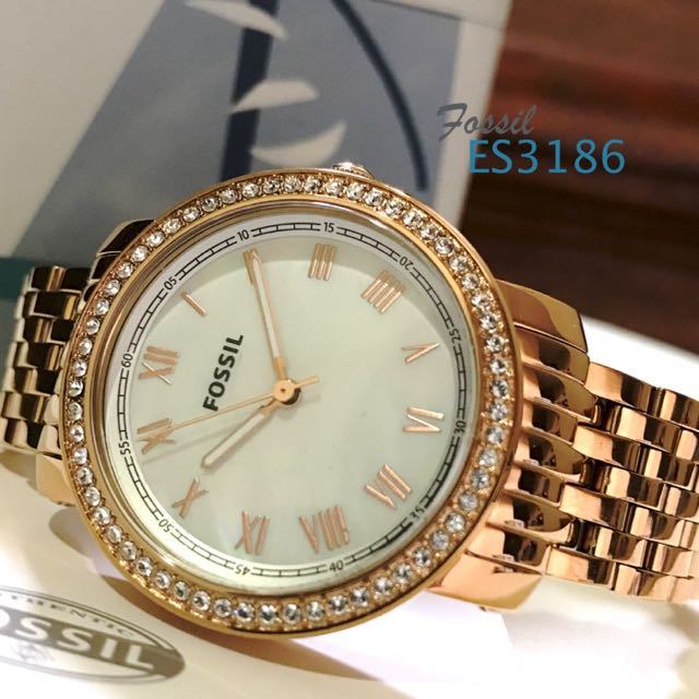 Fossil ES3186 Emma Mother Of Pearl Dial Rose Gold Steel Watch For Women