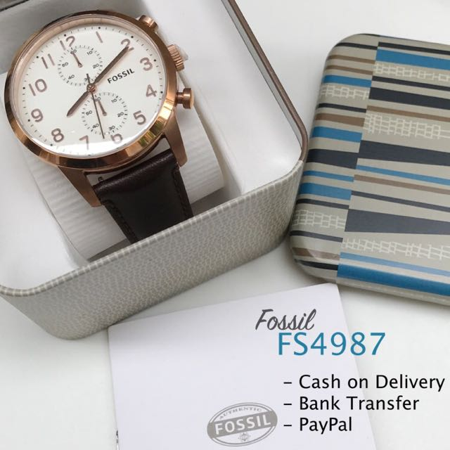 Fossil FS4987 Townsman Chronograph Rose Gold & Brown Leather Strap Men's Watch