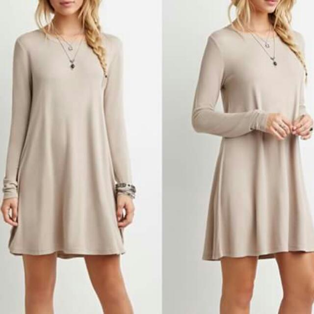 French Terry Trapeze Dress (Beige)