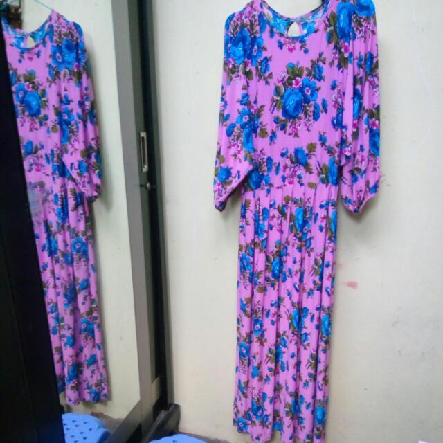 Gamis Jersey Pink Bunga2