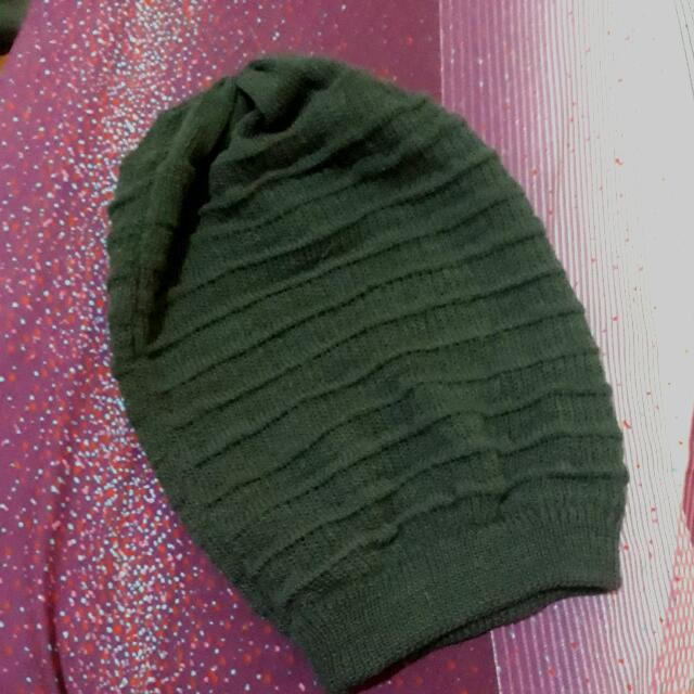 Grey Knitted Bonnet/Beanie