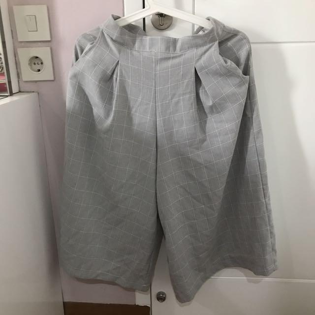 Grey Plaid Culottes