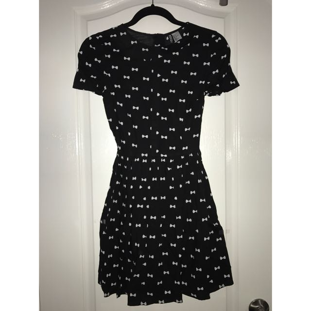 h&m bow patterned dress