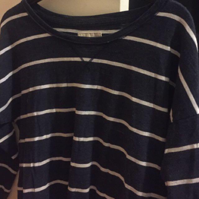 Hollister S Blue Striped Sweatshirt
