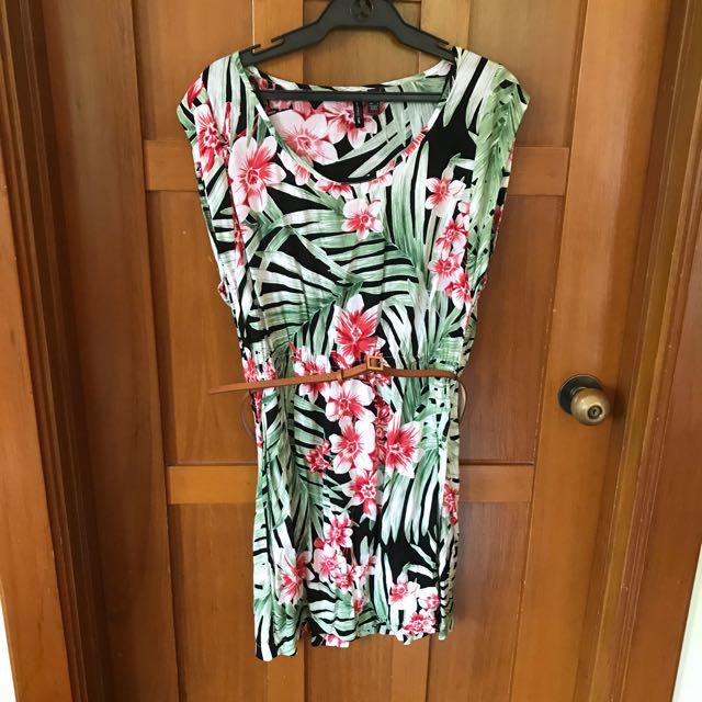 Mango Tropical Mini Dress With Belt