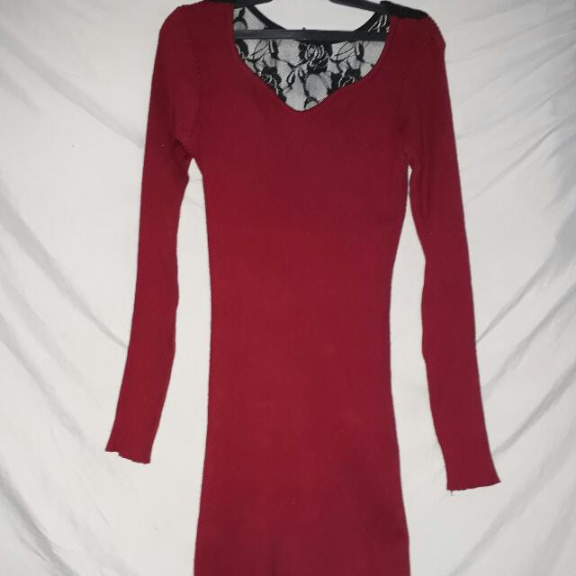 Maroon Bodycon Knitted Dress