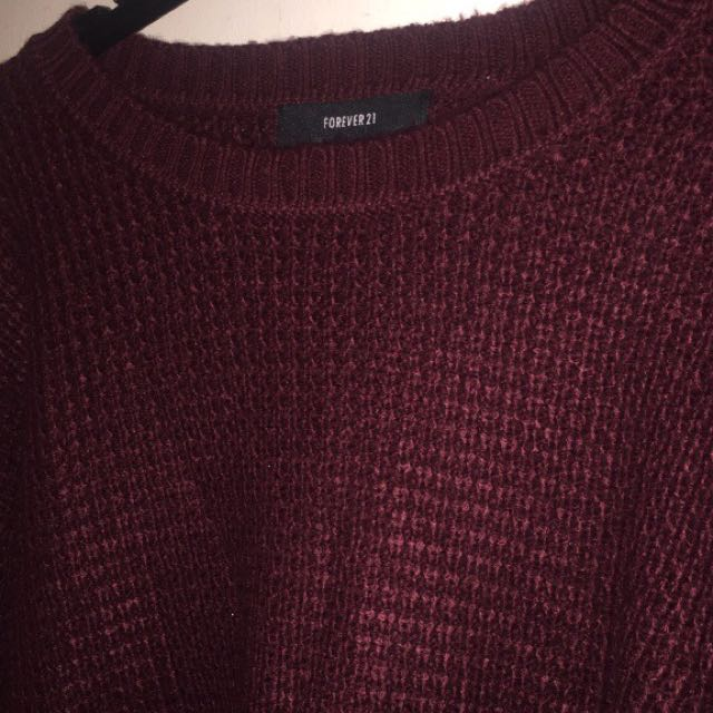 Maroon Knotted Sweater M