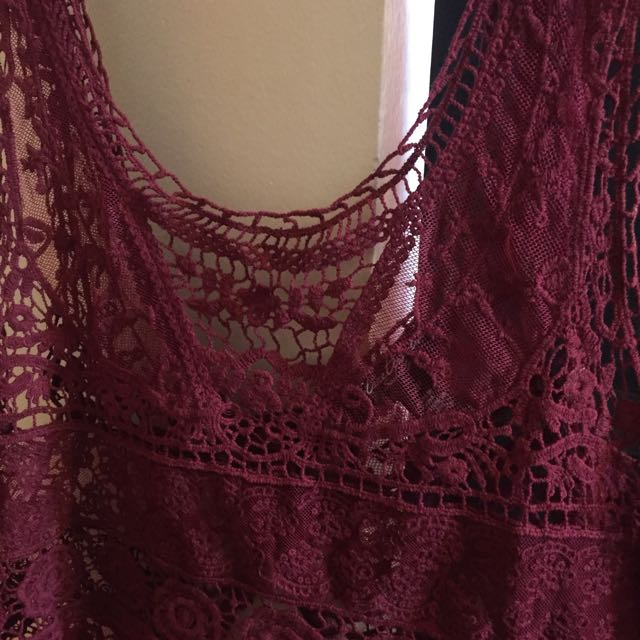 Maroon Lace Sheer Top S