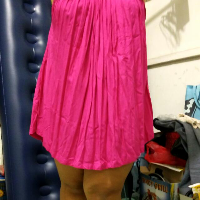Turun Harga Mini Dress Santai Fuschia
