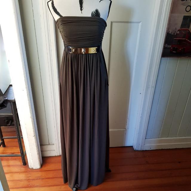 Miss Sixty Maxi Dress Khaki Size 12