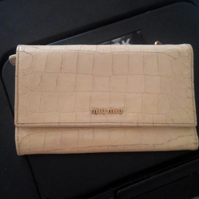 Miu Miu Wallet Croc Leather Auth