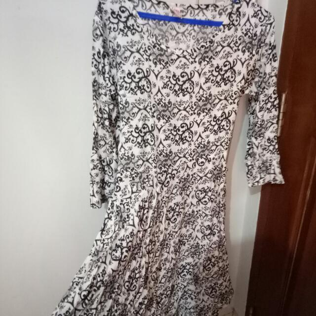 Monochrome Long Dress (Batik)