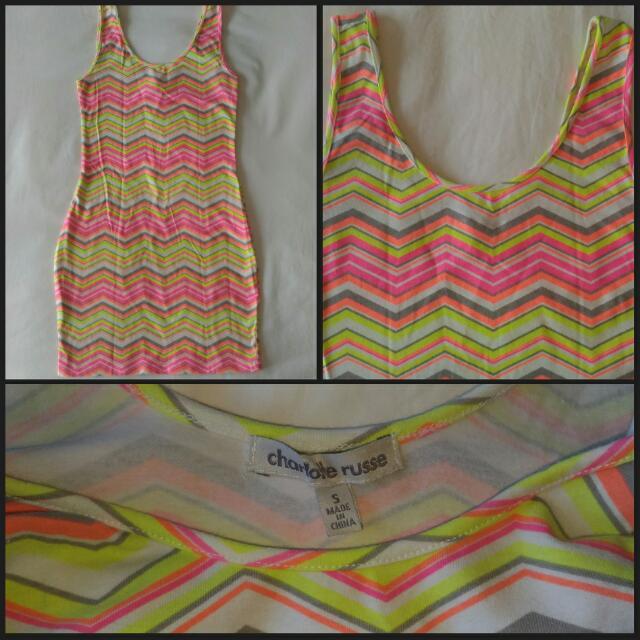 Neon Chevron Bodycon Dress