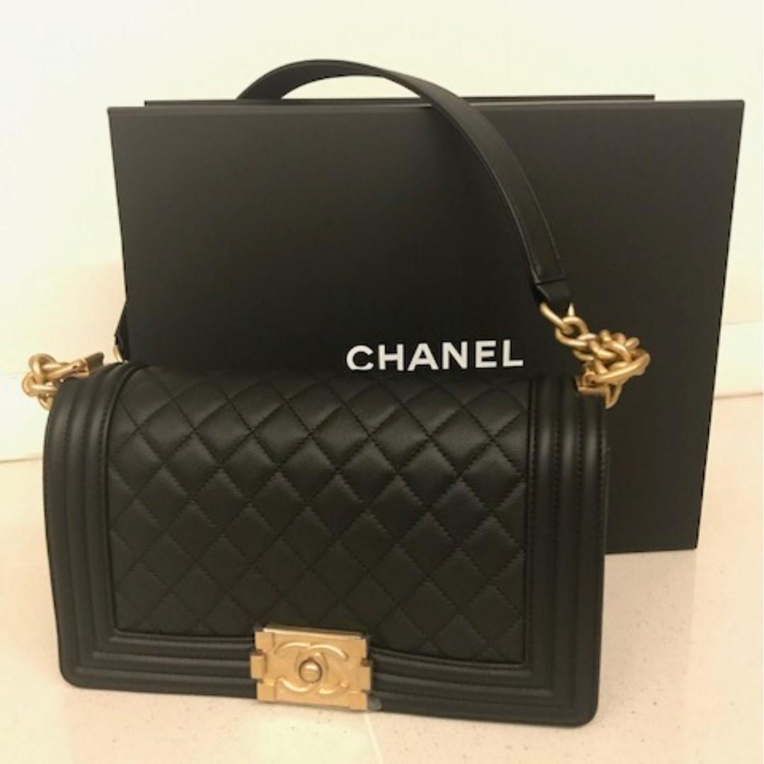 1153de38f2 New! Chanel Boy Black Caviar with Antique Gold Hardware, Luxury ...