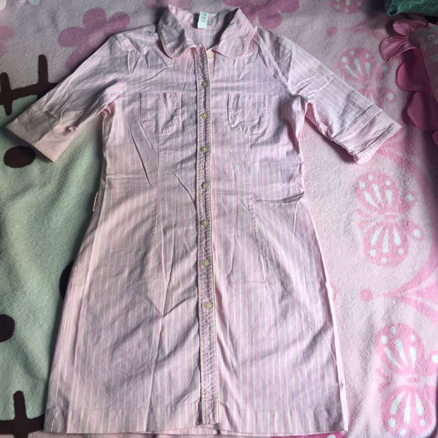 Old Navy Pink Denim Polo Dress