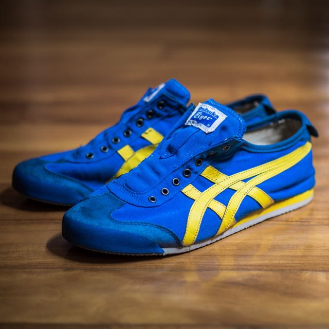 wholesale dealer 35940 c6d2e Onitsuka Tiger Mexico 66 Slip On Canvas Laceless Blue/Yellow ...