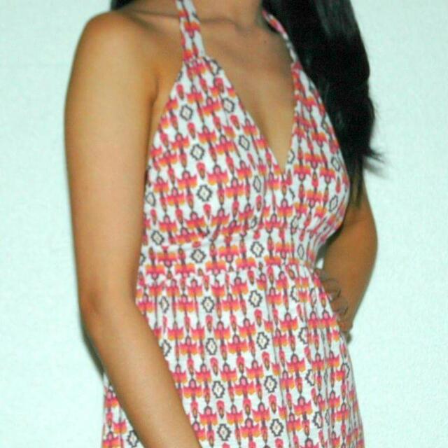 Orange Halter Maxi Dress