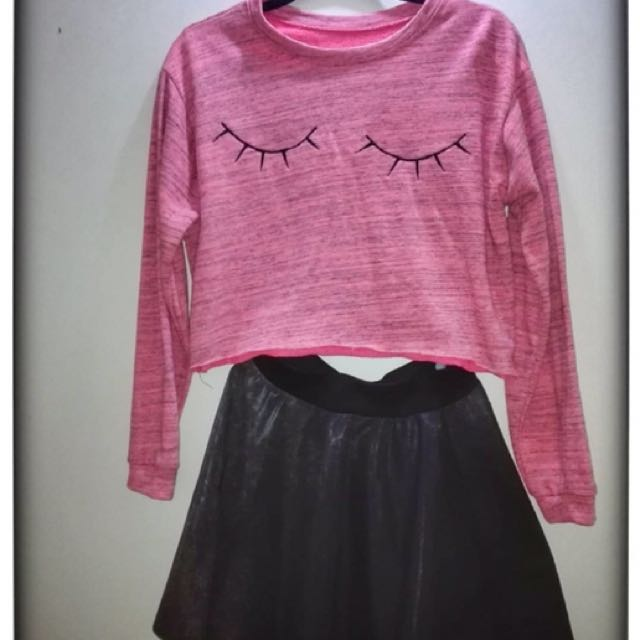 Pink Long sleeve Cropped Top