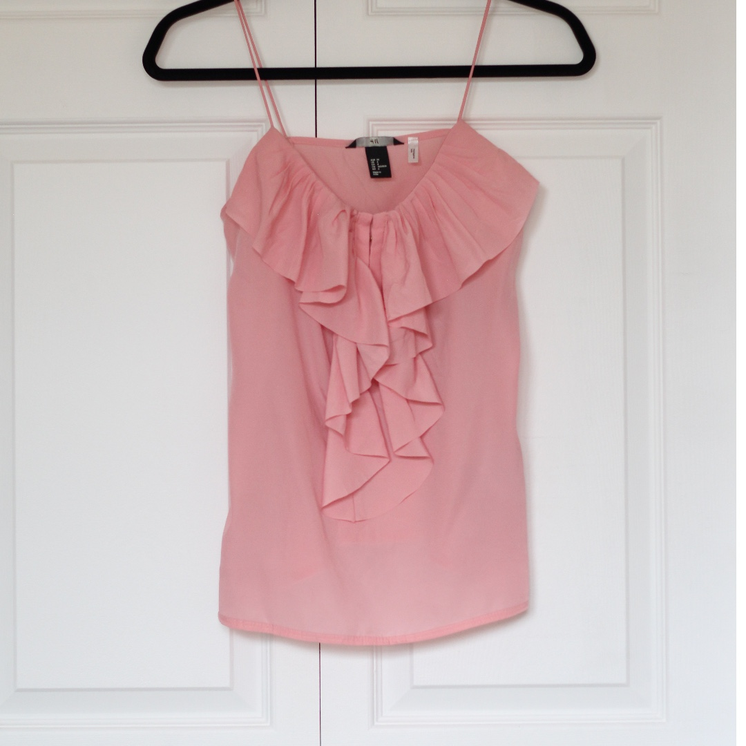 Pink tank top with ruffle