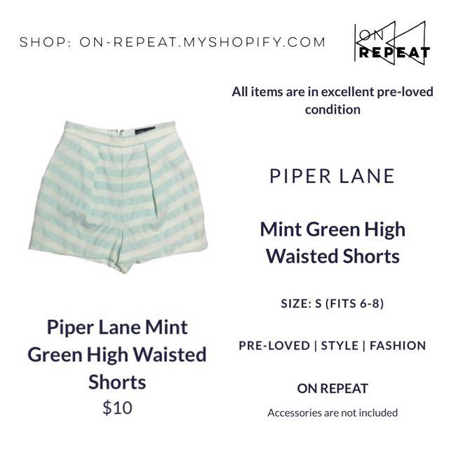 Piper Lane Mint Green Stripe High Waisted Shorts