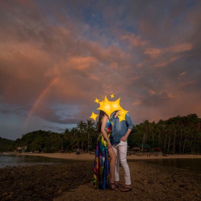 Prenup Engagement Blue Wedding Gown