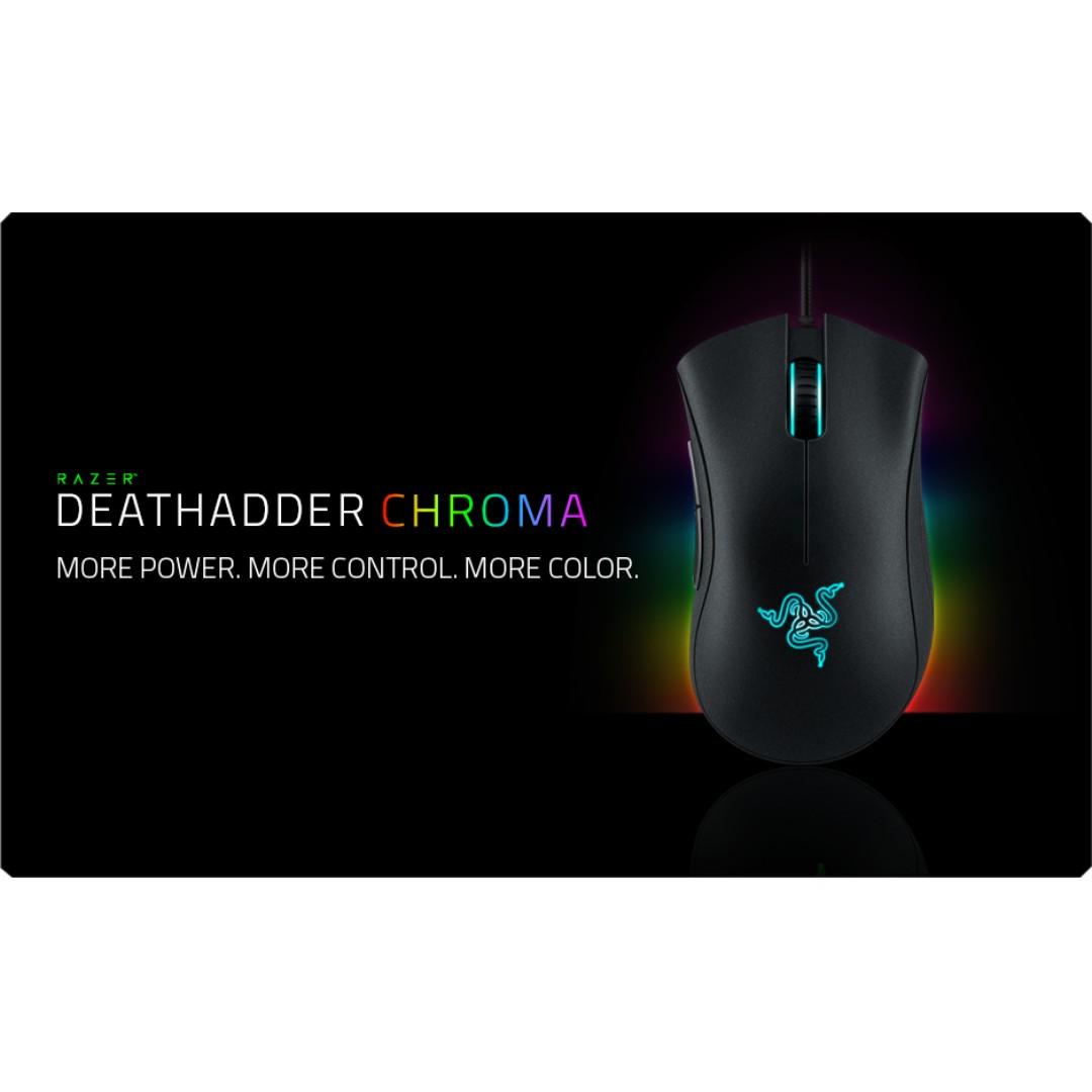 Razer 雷蛇 DeathAdder Chroma 煉獄奎蛇 幻彩版 光學滑鼠 二手 極新