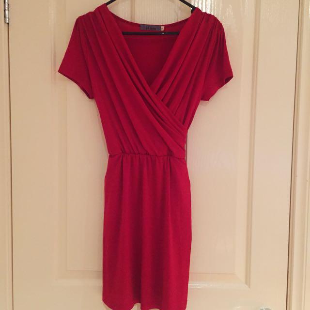 Red V-Wrapped Dress