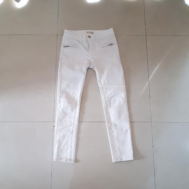 Stradivarius White Skinny Pants