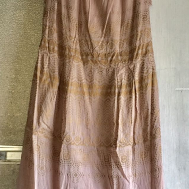 tan dress with gold print