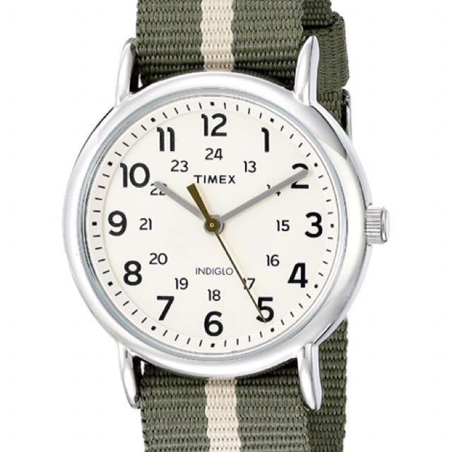 ⌚️AUTHENTIC TIMEX Green/Tan Stripe Nylon Slip-Thru Strap Watch