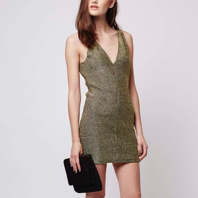TOPSHOP Chainmail Metallic Bodycon Dress BNWT