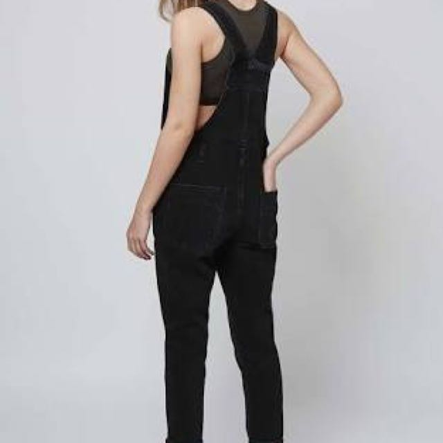 TOPSHOP Washed Black Dungarees / Overalls