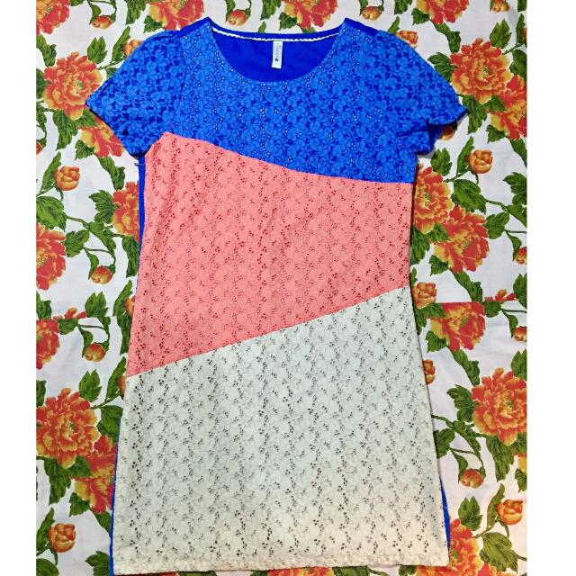 tri color dress