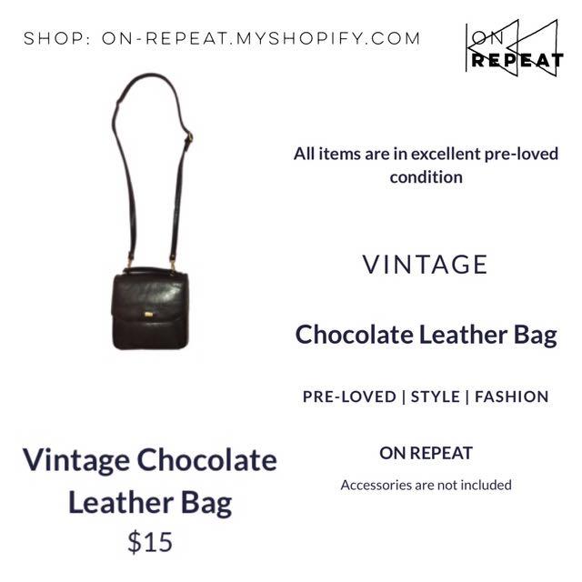 Vintage Chocolate Leather Shoulder Bag