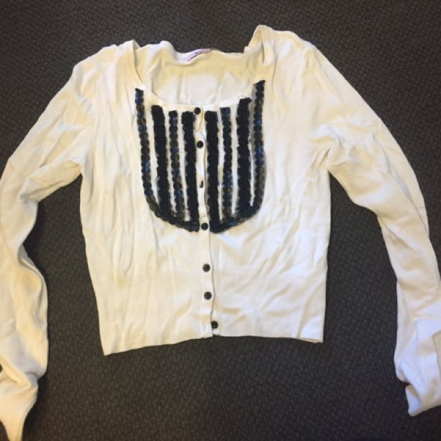 White Cardigan Review Size 8