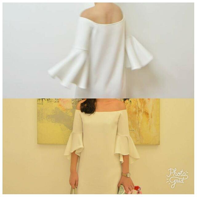 White Off Shoulder Bell Sleeves Dress