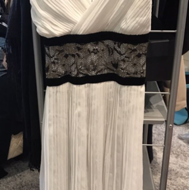 White Pleated Dress With Lace Detail - Size Fit XS To M