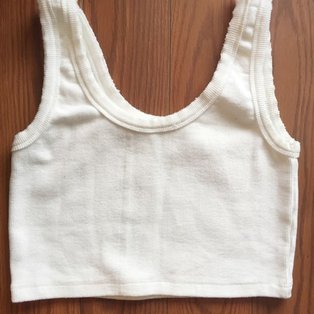 White Ribbed Crop Top Size Small
