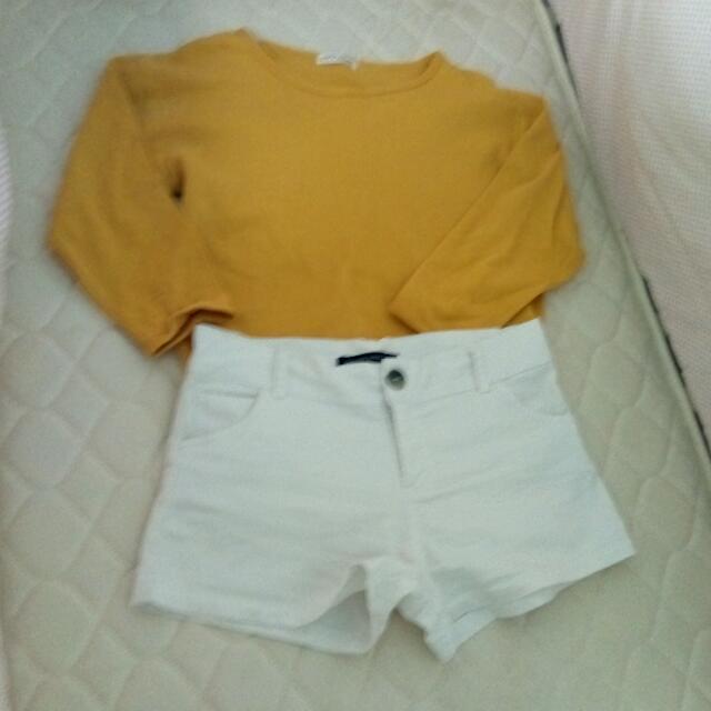 White Shorts And Three-fourth