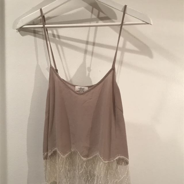 Wilfred Mauve And Blush Lace Bottom Cropped Silk Camisole