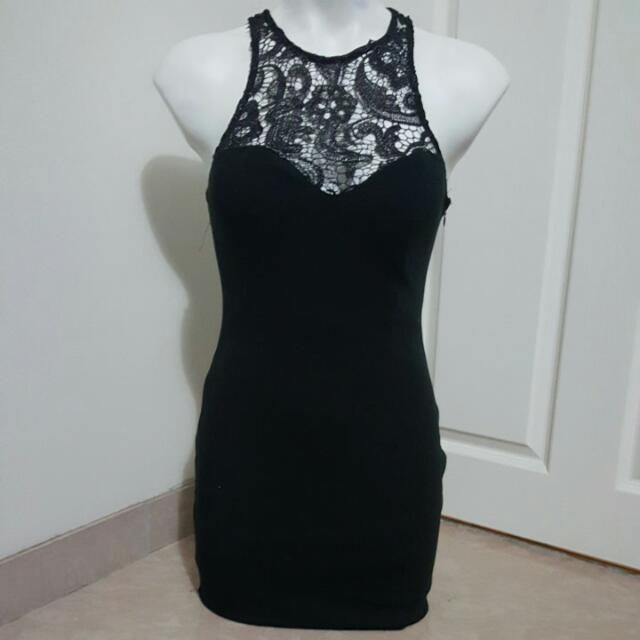 womens black lace bodycon dress