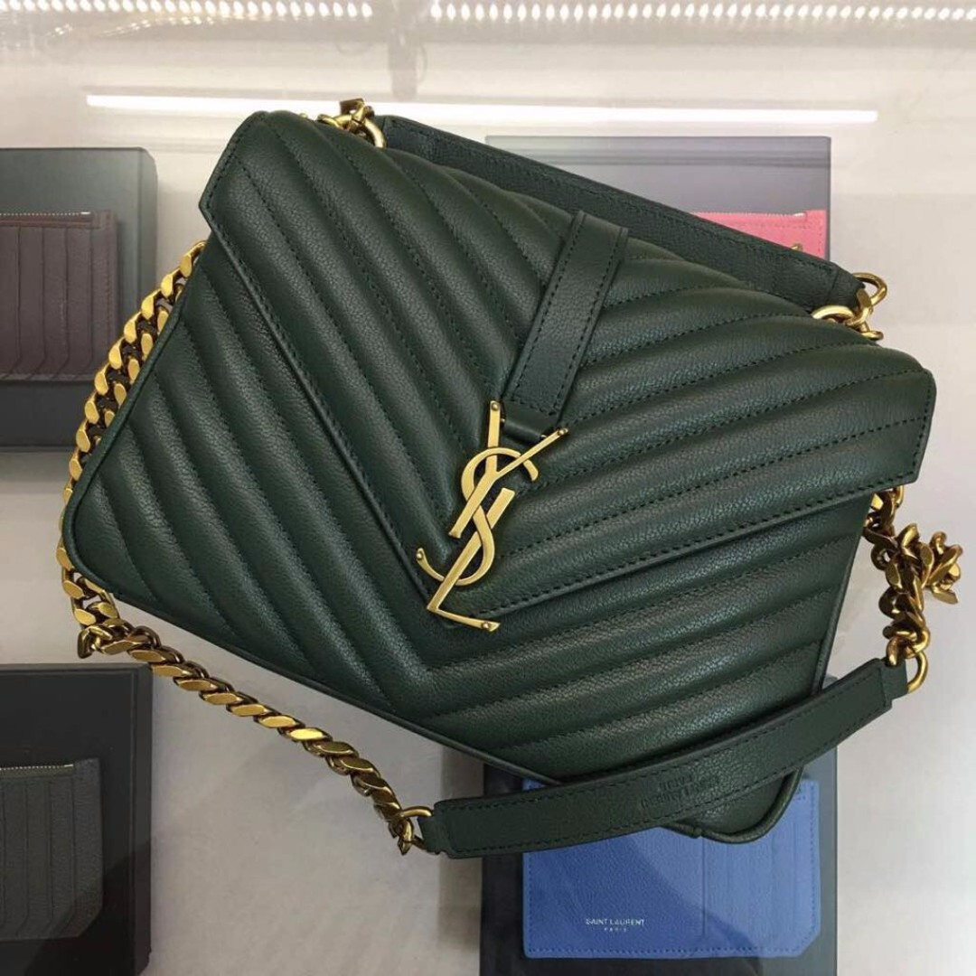 b5478fa8fba9 YSL SAINT LAURENT Classic Medium College in Green Matelasse Leather ...