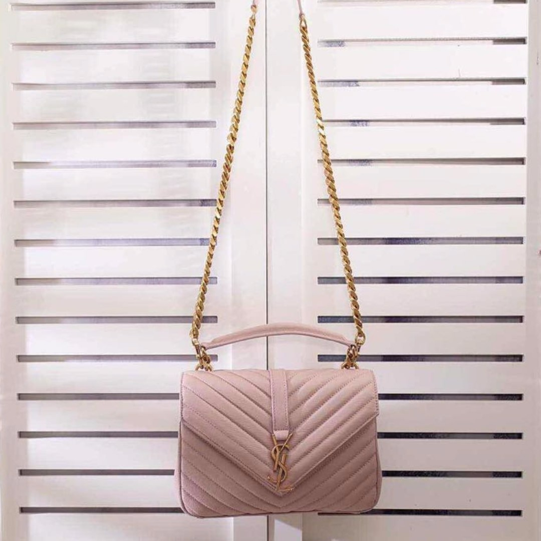 3176bac25c7c YSL SAINT LAURENT Classic Medium College in Powder Pink Matelasse ...