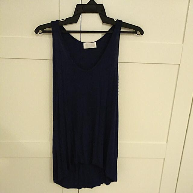 Zara Navy Asymmetrical Tank Top