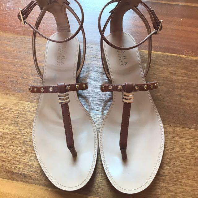 Zara Tan Strappy Sandals